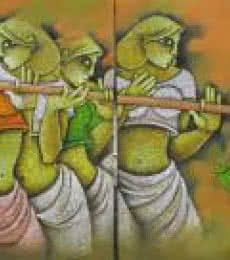 Figurative Acrylic Art Painting title 'Music III' by artist Satyajeet Shinde
