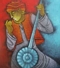 Figurative Acrylic Art Painting title Music V by artist Satyajeet Shinde
