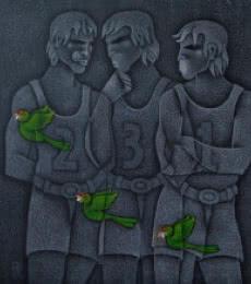 Winners Podium | Painting by artist Satyajeet Shinde | acrylic | Canvas