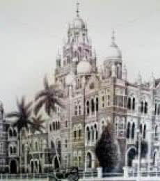 Churchgate W Rly Bldg   Drawing by artist Aman A      ink   Canvas
