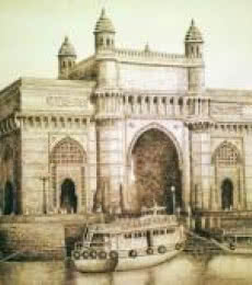 Cityscape Ink Art Drawing title 'Gateway Of India' by artist Aman A