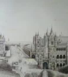 Cityscape Ink Art Drawing title Panorama View of Bombay BMC building & Victoria Terminus (VT) by artist Aman A