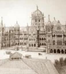 Cityscape Ink Art Drawing title 'Chhatrapati Shivaji Terminus (VT)' by artist Aman A