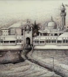 Haji Ali Darga | Drawing by artist Aman A |  | ink | Canvas