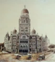 Ink Paintings | Drawing title Old Bombay Municipalcorporation Bldg on Canvas | Artist Aman A