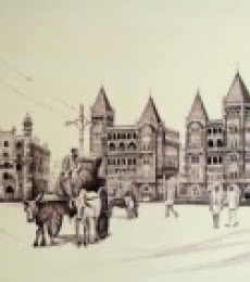 Ink Paintings | Drawing title Old Majestice Mla Hostel Colaba on Canvas | Artist Aman A