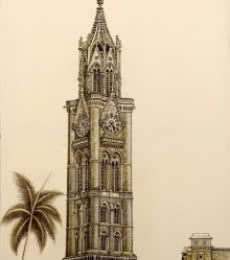 Cityscape Ink Art Drawing title Rajabai Clock Tower Bombay University by artist Aman A