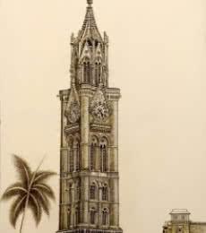 Rajabai Clock Tower Bombay University | Drawing by artist Aman A |  | ink | Canvas