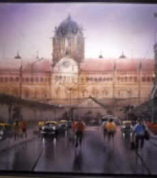 Cityscape Acrylic Art Painting title 'Rainy City V' by artist Bhuwan Silhare