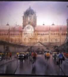 Rainy City V | Painting by artist Bhuwan Silhare | acrylic | Canvas