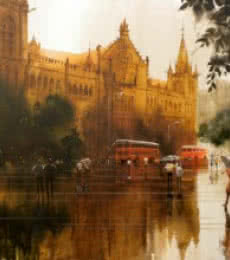 Cityscape Acrylic Art Painting title 'Rainy City I' by artist Bhuwan Silhare