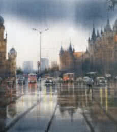 Bhuwan Silhare | Acrylic Painting title Mumbai After Shower I on Canvas | Artist Bhuwan Silhare Gallery | ArtZolo.com