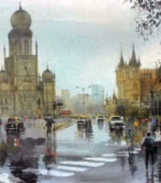 Cityscape Acrylic Art Painting title 'Mumbai After Shower II' by artist Bhuwan Silhare