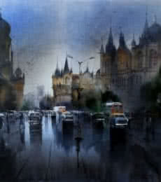 Cityscape Acrylic Art Painting title Mumbai After Shower by artist Bhuwan Silhare