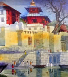 Bhuwan Silhare | Acrylic Painting title Banaras Ghat XI on Canvas | Artist Bhuwan Silhare Gallery | ArtZolo.com