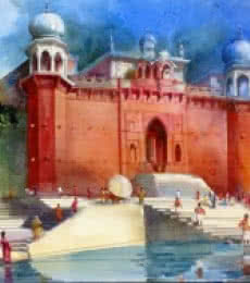 Bhuwan Silhare | Acrylic Painting title Banaras Ghat IV on Canvas | Artist Bhuwan Silhare Gallery | ArtZolo.com