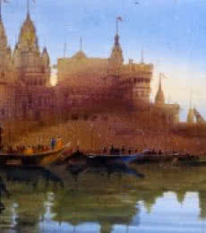 Bhuwan Silhare | Acrylic Painting title Banaras Ghat XVIII on Canvas | Artist Bhuwan Silhare Gallery | ArtZolo.com