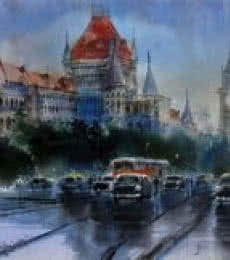 Cityscape Acrylic Art Painting title Mumbai High Court and University by artist Bhuwan Silhare
