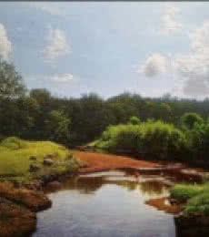 Landscape Oil Art Painting title 'My village stream' by artist Sanjay Sarfare