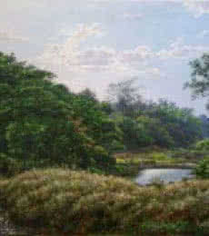 Landscape Oil Art Painting title 'National park1' by artist Sanjay Sarfare