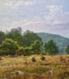 Landscape Oil Art Painting title 'Stream side' by artist Sanjay Sarfare
