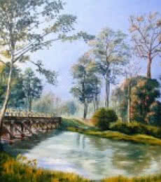 Nature Oil Art Painting title Approach Bridge To Holong Bunglow Doaars by artist Barun Singh