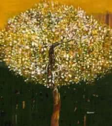 Nature Acrylic Art Painting title The Golden Tree by artist Bhaskar Rao