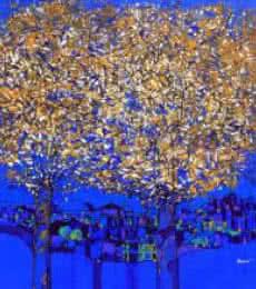 Golden Tree Of Life | Painting by artist Bhaskar Rao | acrylic | Canvas
