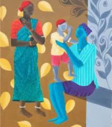 Sweet Family | Painting by artist Abhiram Bairu | acrylic | Canvas