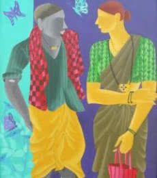 Figurative Acrylic Art Painting title Talking Couple by artist Abhiram Bairu