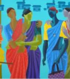 Figurative Acrylic Art Painting title Women Get Together by artist Abhiram Bairu