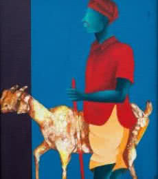 Me And My Goat | Painting by artist Abhiram Bairu | acrylic | Canvas