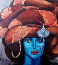Suruchi Jamkar | Acrylic Painting title Blue girl in a turban on Canvas | Artist Suruchi Jamkar Gallery | ArtZolo.com