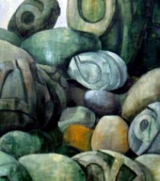 Surrealist Acrylic Art Painting title 'Prayer Rocks' by artist Suruchi Jamkar