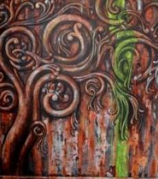 Surrealist Acrylic Art Painting title Ancient Design Ii by artist Suruchi Jamkar