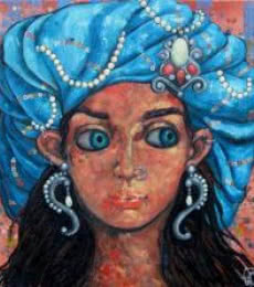 Suruchi Jamkar | Acrylic Painting title Girl With A Blue Turban on Canvas | Artist Suruchi Jamkar Gallery | ArtZolo.com