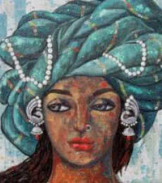 Suruchi Jamkar | Acrylic Painting title Girl With A Green Turban on Canvas | Artist Suruchi Jamkar Gallery | ArtZolo.com