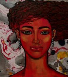 Figurative Oil Art Painting title 'Girl In The Wind' by artist Suruchi Jamkar