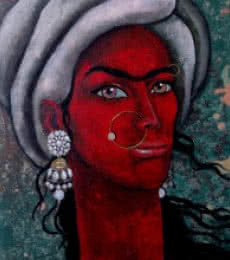 Figurative Acrylic Art Painting title 'Girl With Bright Eyes' by artist Suruchi Jamkar