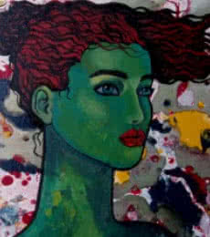 Suruchi Jamkar | Oil Painting title Green Girl on Canvas | Artist Suruchi Jamkar Gallery | ArtZolo.com