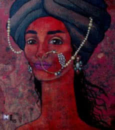 Figurative Acrylic Art Painting title 'Melancholic' by artist Suruchi Jamkar