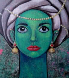 Figurative Acrylic Art Painting title 'Girl with beautiful eyes' by artist Suruchi Jamkar