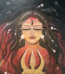 Devi I | Painting by artist DEVIRANI DASGUPTA | mixed-media | Canvas Paper