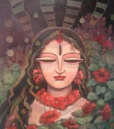 Devi II | Painting by artist DEVIRANI DASGUPTA | mixed-media | Canvas Paper
