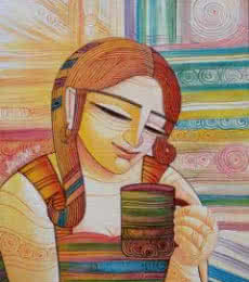 Figurative Acrylic Art Painting title 'First Cuppa' by artist DEVIRANI DASGUPTA