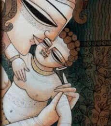 Figurative Mixed-media Art Painting title Mother Child I by artist DEVIRANI DASGUPTA