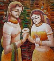 Figurative Acrylic Art Painting title 'Radha Krishna III' by artist DEVIRANI DASGUPTA