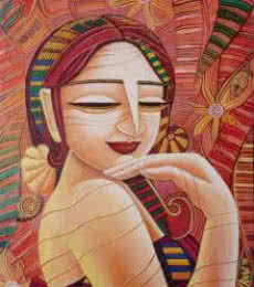 Figurative Acrylic Art Painting title 'Queen VII' by artist DEVIRANI DASGUPTA