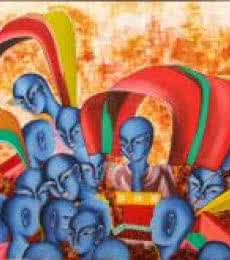 Figurative Acrylic Art Painting title Celebration Of Colours by artist Deepali Mundra