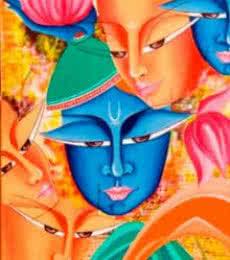 Deepali Mundra | Acrylic Painting title Composition On Sree Krishna on Canvas | Artist Deepali Mundra Gallery | ArtZolo.com